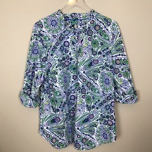 Talbots floral cotton pullover NWOT